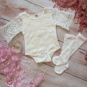Boutique Baby Girls Lace Top and Knee High Socks